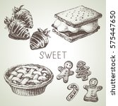 hand drawn sketch sweet dessert ... | Shutterstock .eps vector #575447650