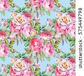 seamless vintage flower pattern ... | Shutterstock . vector #575449798