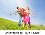 mom and two daughter having fun   Shutterstock . vector #57545206