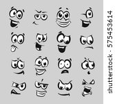 16 cartoon faces series emotion ... | Shutterstock .eps vector #575453614