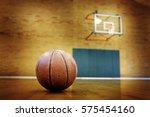 Ball On Basketball Court For...