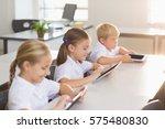 school kids using digital... | Shutterstock . vector #575480830