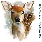 fawn watercolor painting | Shutterstock . vector #575492638