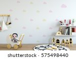 mock up wall in child room... | Shutterstock . vector #575498440