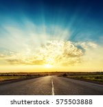 Good Sunset Over Asphalt Road