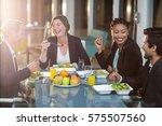 group of businesspeople having... | Shutterstock . vector #575507560