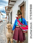 Small photo of CUSCO, PERU - FEB 8: A Quechuan girl and her llama in Cusco, Peru on February 8, 2017. Locals typically dress in native garb and tow animals like alpaca or sheep for photo opportunities.