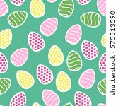 easter seamless pattern with... | Shutterstock .eps vector #575513590
