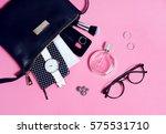 overhead view of set female... | Shutterstock . vector #575531710