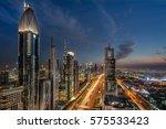 looking down sheik zayed road... | Shutterstock . vector #575533423