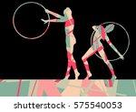 girl calisthenics sport gymnast ... | Shutterstock .eps vector #575540053
