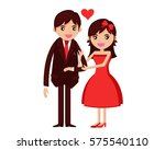 cute isolated romantic couple... | Shutterstock .eps vector #575540110
