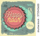 happy hour new age 50s vintage... | Shutterstock .eps vector #575545600