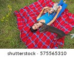 animal lover out with her bald... | Shutterstock . vector #575565310