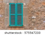 old turquoise blue wooden... | Shutterstock . vector #575567233