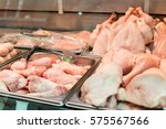 fresh chicken on display in a... | Shutterstock . vector #575567566