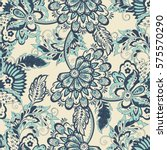 vintage pattern in indian batik ... | Shutterstock . vector #575570290