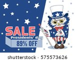 uncle sam owl in a top hat ... | Shutterstock .eps vector #575573626
