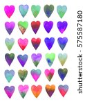 colored hearts. watercolor on... | Shutterstock . vector #575587180