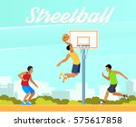 group of young people playing... | Shutterstock .eps vector #575617858