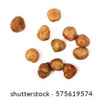 whole hazelnuts isolated on... | Shutterstock . vector #575619574