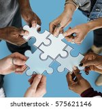 group of people holding paper... | Shutterstock . vector #575621146