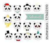 set of panda boy faces ... | Shutterstock .eps vector #575622550