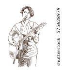 sketch of street guitarist....   Shutterstock .eps vector #575628979