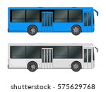 set white  blue city bus... | Shutterstock .eps vector #575629768
