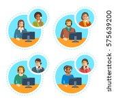 call center agents team talking ... | Shutterstock .eps vector #575639200
