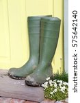 green wellington boots sitting... | Shutterstock . vector #575642140