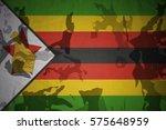 Flag Of Zimbabwe On The Khaki...