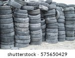 wall of old tires | Shutterstock . vector #575650429