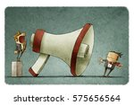 illustration of boss shouting... | Shutterstock . vector #575656564