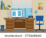 interior of office with a... | Shutterstock .eps vector #575668660