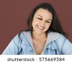 woman smiling happiness casual... | Shutterstock . vector #575669584