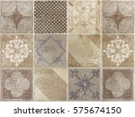 beautiful tile with a drawings.    Shutterstock . vector #575674150