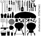 barbecue bbq silhouette set...   Shutterstock .eps vector #57567661