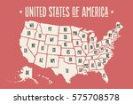 poster map of united states of... | Shutterstock . vector #575708578