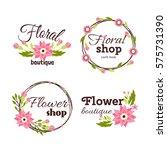 floral shop badge decorative... | Shutterstock .eps vector #575731390