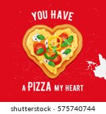 pizza love card design with... | Shutterstock .eps vector #575740744