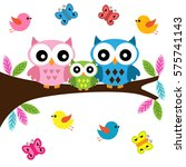 owls family sitting on a branch | Shutterstock .eps vector #575741143