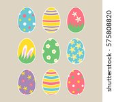 set of easter eggs with... | Shutterstock . vector #575808820
