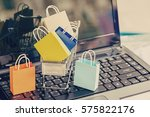 paper shopping bags in a... | Shutterstock . vector #575822176