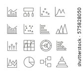graph and chart icons in thin