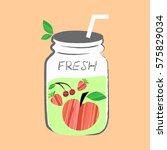 fresh fruits smoothie  detox... | Shutterstock .eps vector #575829034