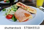 toasted panini sandwich | Shutterstock . vector #575845513