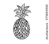hand drawing of a pineapple in... | Shutterstock .eps vector #575854900