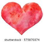 watercolor red heart. hand... | Shutterstock . vector #575870374