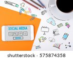 social media. mobile phone and... | Shutterstock . vector #575874358